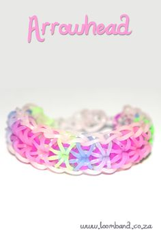 Arrowhead loom band bracelet tutorial, instructions and videos on hundreds of loom band designs. Shop online for all your looming supplies, delivery anywhere in SA. Rainbow Loom Tutorials, Rainbow Loom Patterns, Rainbow Loom Creations, Rainbow Loom Bands, Rainbow Loom Charms, Rainbow Loom Bracelets, Loom Bands Designs, Loom Band Patterns, Bracelet Patterns