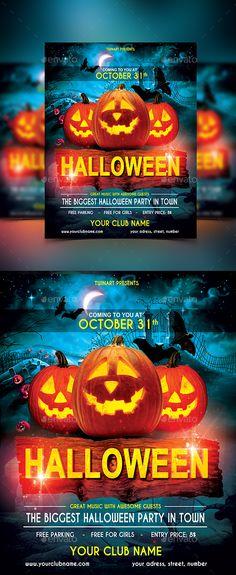 Demons Night Halloween Party Flyer Halloween party flyer, Party - halloween party flyer