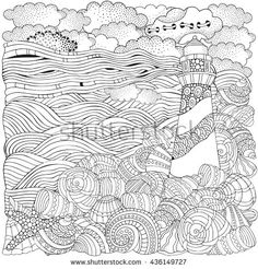 Lighthouse and shells, seascape. Coloring book page for adult. Waves, sea, art background. Pattern for coloring book. Hand-drawn, doodle, vector, zentangle, tribal design elements.