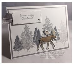 "I really love the ""Merry Moose"" stamp set and matching punch in the Holiday Catalog. Christmas Family Feud, Christmas Moose, Christmas Games, Retro Christmas, Christmas Printables, Stampin Up Christmas, Christmas Cards To Make, Christmas Greeting Cards, Holiday Cards"