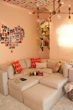 Love this teen hangout room.  The heart photos, the lamp, the removable wallpaper on the ceiling..I want to be a teen again so I can hang out in this room