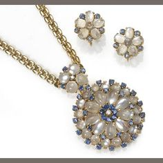 A moonstone, sapphire and diamond necklace with detachable pendant-brooch together with matching screwback earrings