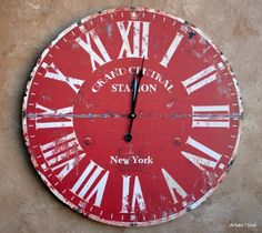 23 Large Grand Central Station New York Wall Clock ~ Burnt Red Beige Finish, http://www.amazon.com/dp/B00DYEZOZU/ref=cm_sw_r_pi_awd_W.alsb0QSBVAV