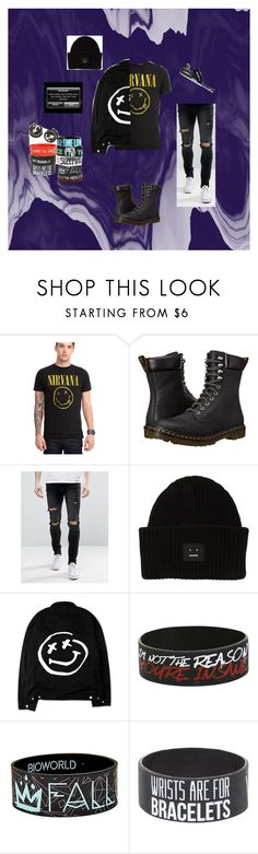 """""""Nirvana"""" by beautiful-madnes ❤ liked on Polyvore featuring Dr. Martens, Liquor n Poker, Acne Studios, men's fashion and menswear"""