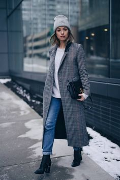 Style and beauty blogger Jill Lansky of The August Diaries on how to stay warm + stylish in the winter in Acne Pansy toque, plaid coat, Celine black box bag, 3.1 Phillip Lim boots