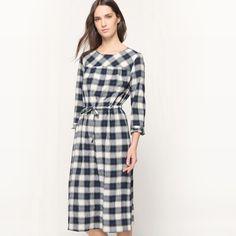 Checked Tie Waist Midi Dress