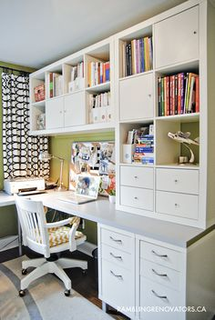 Pretty sure I have this pinned already, but in case not, looks like two base cabinets below w. countertop; two 8-cube Expedit shelves above. AP said: Rambling Renovators: Getting Organized #office #ikea Home office for 2...nice set up for one wall of your craft room with work table in center...