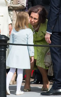 Princess Estelle of Sweden greets Queen Sofia of Spain as they attend celebrations of the Swedish Armed Forces for the 70th birthday of King Carl Gustaf of Sweden on April 30, 2016 in Stockholm, Sweden.