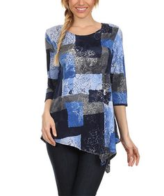 Look at this #zulilyfind! Blue & White Abstract Asymmetrical Tunic by Come N See #zulilyfinds