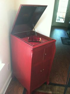 Old Victrola cabinet we turned into a bar