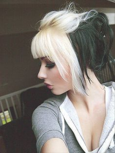 This style, but soft pink instead of blonde and blonde instead of black