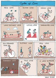 """Cycles of Love"" Poster sold by Incidental Comics. Shop more products from Incidental Comics on Storenvy, the home of independent small businesses all over the world. Slack Wyrm, Life Comics, Night Terror, Love Posters, Arte Disney, Illustration, Funny Comics, Comic Strips, Happy Valentines Day"