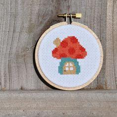 Mushroom House Embroidery