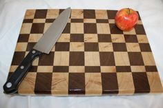 All hard wood, Walnut and Ambrosia Maple Checkered End-Grain Cutting Board in Salad Bowl Finish. So pretty!