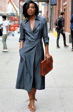 Gabrielle Union goes braless in denim dress at Wes Gordon fashion show Denim Fashion, Look Fashion, Fashion Show, Womens Fashion, Fashion Skirts, Fall Fashion, Fashion Outfits, Jeans Dress, Dress Skirt