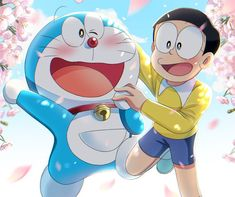 Doraeman and Nobita wallpaper Cartoon Wallpaper Iphone, Cute Cartoon Wallpapers, Disney Wallpaper, Doraemon Stand By Me, Vanellope Y Ralph, Fond Design, Sinchan Cartoon, Onii San, Hokusai