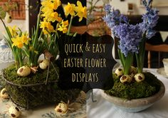 A handmade cottage: Easter spring flower table display - in 10 minutes!