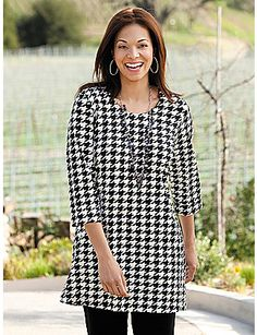 "Our signature stretch fabric drapes so beautifully in a classic houndstooth check that leads the eye downward in a flattering vertical direction. Round neckline, 3/4 sleeves. Side-vented hemline. Relaxed fit. 95% viscose rayon/5% spandex. Machine wash. Imported. Length: 32"". sonsi.com"