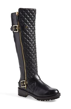 Adding a little bit of edge to the fall wardrobe with these leather Steve Madden quilted moto boots.