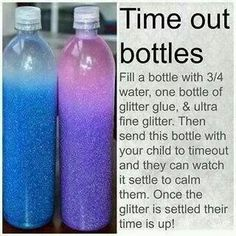 Glitter Time Out Bottles. I have two very ADHD Kids and I'm thinking this could possibly be a good coping mechanism for them both.