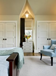 Master bedroom closet design  - DOORS...INSTEAD IF A TINy WALK IN CLOSET... INFINITELY MORE SPACE FOR HANGING !Master Bedroom Closets Design, Pictures, Remodel, Decor and Ideas - page 7