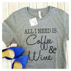 WBS! Thread Tanks Coffee Wine Statement Tee ❤ liked on Polyvore featuring tops, t-shirts, relax t shirt, short sleeve tee, relaxed tee, relaxed fit tee and short sleeve tops