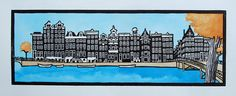 Amsterdam canal print handmade painted lino print by BlackPrints, €82.00