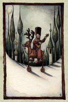 "'Balalaika' 2005 watercolour 7.5""x5"" by Rima Staines .... ""a funny little man on the back of a wheeled reindeer, playing the balalaika in a snowy onion-domed Slavic forest."""