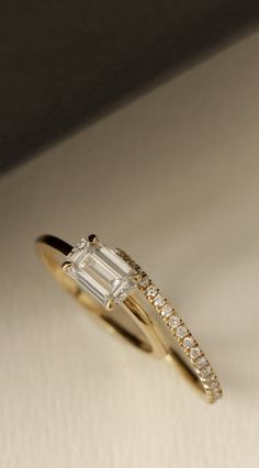 VOW: Vrai & Oro Wedding Emerald Cut Diamond Engagement Ring and Pavé Wedding Band