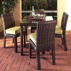 Found it at Wayfair - Saint Tropez 5 Piece Dining Set Patio Dining, Dining Set, Patio Bar Set, Wicker Table, Square Dining Tables, Outdoor Furniture Sets, Outdoor Decor, Rattan Furniture, South Seas