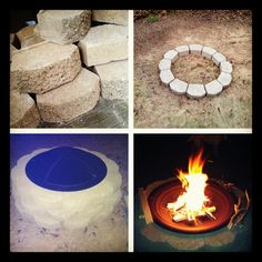 My easy homemade fire pit!  36 cement blocks Fire pit bowl  ... That's all folks!