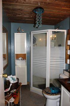 Small bathroom. Nautical theme Basement Bathroom, Small Bathroom, Good Bones, Shag Carpet, Nautical Theme, Workshop, Wall, Inspiration, Furniture