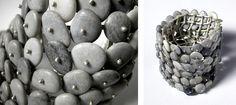 Gundula PAPESCH- bracelet, argent & cailloux - détail  galets du bord du lace de Genève