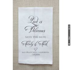 $4, sold in sets of 25, save the date tea towel, save the date dish towel, save the date kitchen towel custom wedding towel, , , ,   CHECK OUT MORE IDEAS AT WEDDINGPINS.NET   #weddings #weddinggear #weddingshopping #shopping