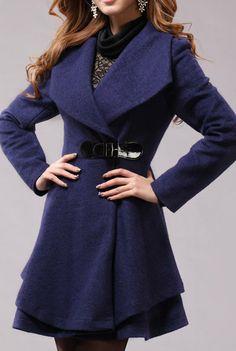 Blue Long Coat Winter Coat Woman coat Long Jacket