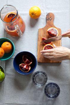 Sangria w/ Txakoli + Blood Orange Recipe by Aran Goyoaga   west elm