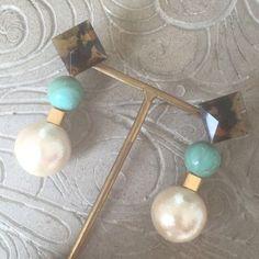べっ甲xターコイズxコットンパールピアス(イヤリング)pierce earring | Rire Vie (リールヴィー)