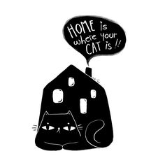 Cute black cat with hand letterd message | Gabi Toma's Artist Shop Special Characters, Fictional Characters, Cute Black Cats, Image House, Lower Case Letters, Lowercase A, Cat Lady, Fine Art Paper, Unicorn