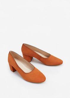 Heel leather shoes   MANGO