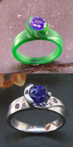 Wax to finished piece: Sapphire set into custom made half-bezel wrap ring...