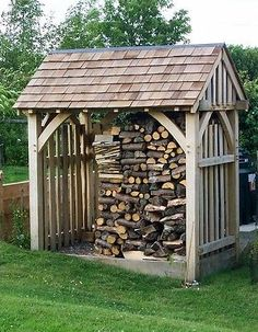 bespoke oak garden buildings structures and rustic furniture Firewood Shed, Firewood Storage, Backyard Sheds, Outdoor Sheds, Garden Buildings, Garden Structures, Shed Design, Garden Design, Log Shed