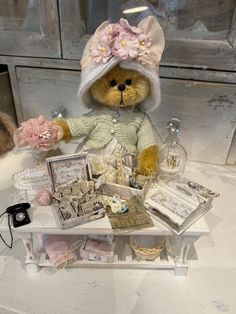 Cindy by Shaz Bears on Tedsby Australian Artists, Teddy Bears, Crochet Toys, Hand Sewing, Doll Clothes, Group, Board, Cute, Pink