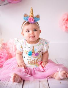 Unicorn Birthday Dress Girls in Pink and Gold 1st Birthday Party For Girls, First Birthday Outfit Girl, Unicorn Themed Birthday, 1st Birthday Cake Smash, First Birthday Themes, Birthday Party Outfits, Birthday Dresses, First Birthdays, Unicorn Dress Girls