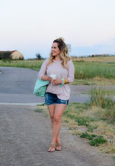 """""""These distressed shorts from Pinks Boutique in Bonnie Brae are my  favorite..."""""""