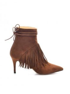 68e68f9be36c Young British Designers  Mimi Caramel Calf Suede Fringed Ankle Boot by  Bionda Castana - Bionda