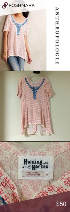 Anthropologie Holding Horses embroidered Tunic Anthropologie Holding Horses embroidered Tunic. Excellent condition! Size XS. Anthropologie Tops Tunics