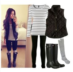 White striped long sleeve, black vest, black leggings, grey stocking and black rain boots