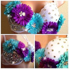 Queen of EDC Rave Bra, Adult Costume Bra, Perfect For Concerts and Music Festival,  Electric Daisy Carnival, Ultra, EDM