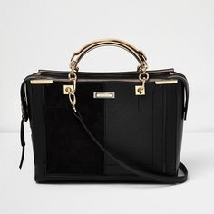 River Island Black panel boxy tote bag ($94) ❤ liked on Polyvore featuring bags, handbags, tote bags, bags / purses, black, shoppers / tote bags, women, tote hand bags, structured tote bag and top handle handbags