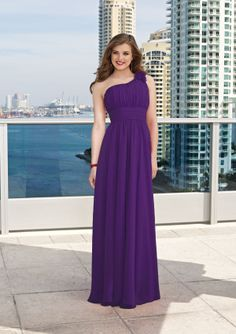 Mori Lee Bridesmaid Dress 282 Vertically ruched one shoulder bodice with floral detail has a flowing A line skirt and a zipper back closure #timelesstreasure